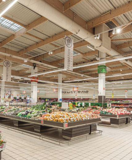éclairage supermarché
