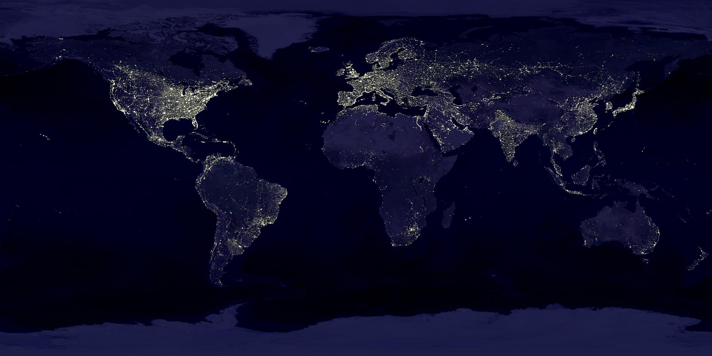 éclairage terre nuit